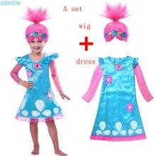 Retail Troll Wig +dress set Children Costumes For Girls Carnival Kids Costumes Dress Trolls Clothes Poppy Party vestido de festa
