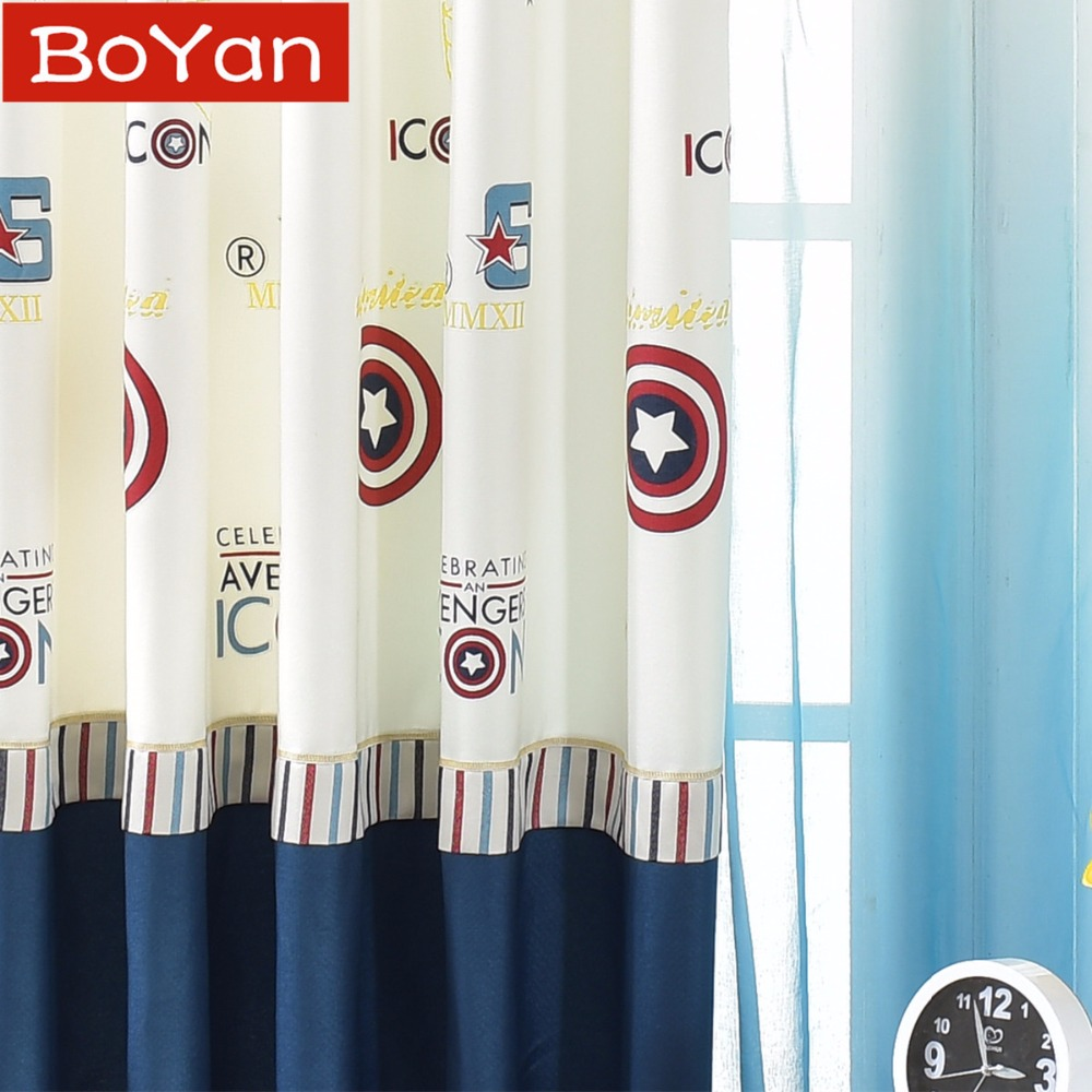 Marvel The Avengers Captain America Shield Embroidery Window Treatments Men Bedroom Navy Boys Window Curtains For Living Room