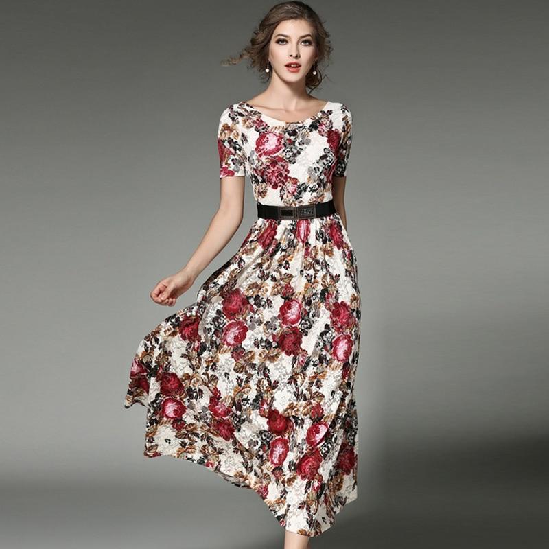 06f8db20338 2018 new arrival Fashion printed Lace dresses women O-neck short sleeve Long  vestidos female boho style plus size free shipping