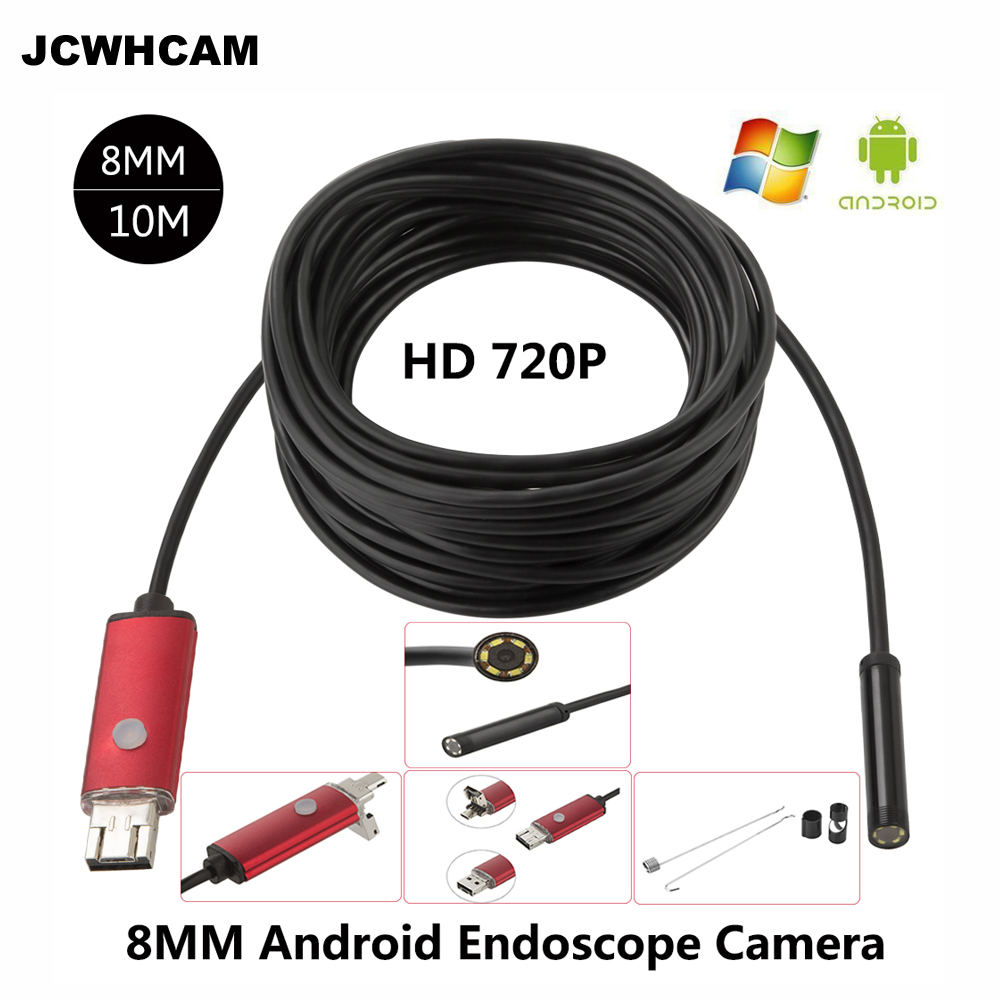 JCWHCAM 8MM Len HD Android USB Endoscope 10M Cable 6 LED Inspection ...