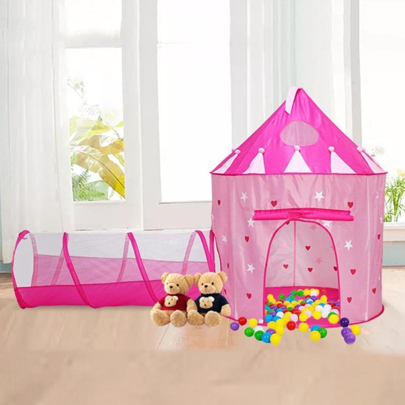 2 en 1 lumineux enfants tente en plein air ramper Tunnel jouer tentes maison océan balle Pit piscine tentes filles princesse château Playhouse