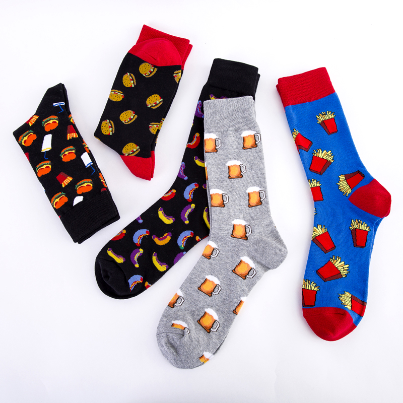 Beer Socks Cool French Fries Drinks Gourmet Creativity Pattern Happy Crew Burger Street Skate Cotton Short Funny Women Men Socks