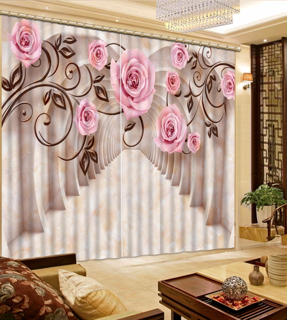 3D Curtain New Custom 3D Beautiful Marble Space Flowers ... on Beautiful Bedroom Curtains  id=40205