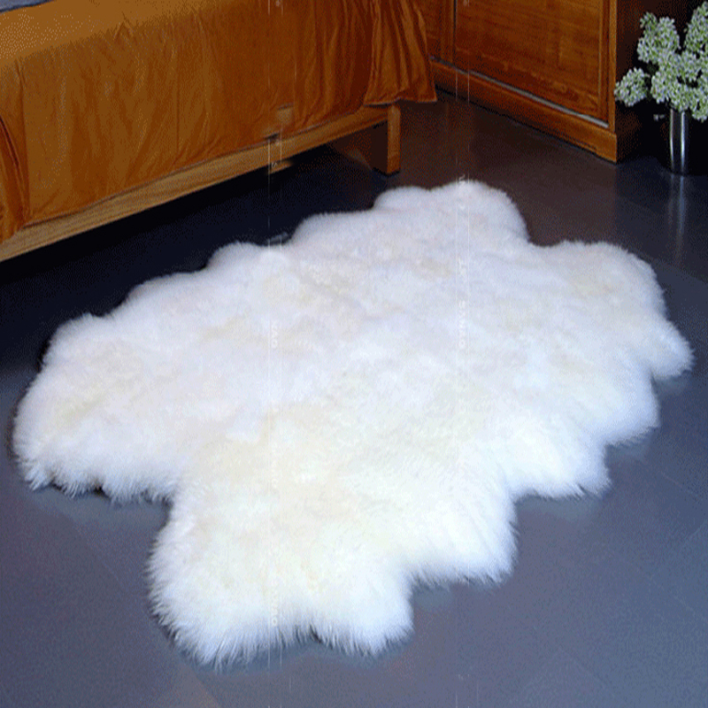 Area Rug Genuine 4 Pelts Quad Sheep Fur