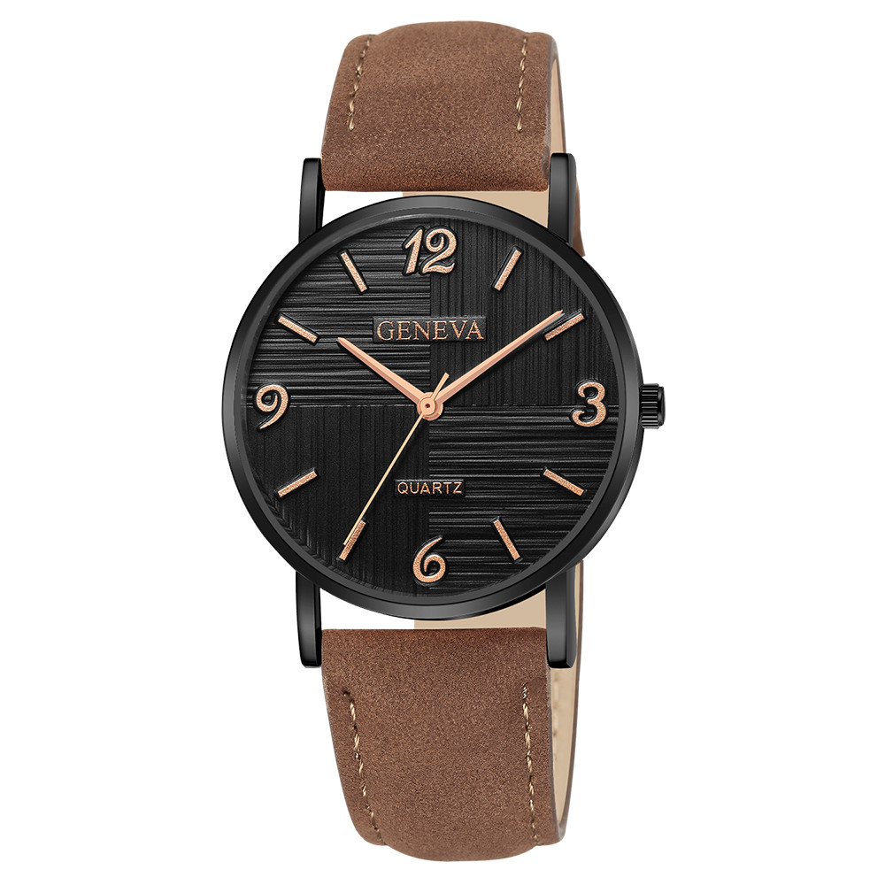 Men Women Leather Strap Line Analog Quartz Ladies Wrist Watches Fashion Watch Ultra-thin clock Luxury brands Business watch