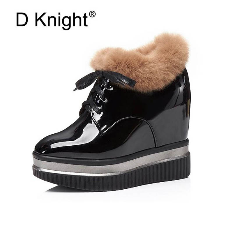 Ladies Fashion Fur Platform Height Increasing Wedge Boots New Women Casual Warm Winter Ankle Boots Female Leisure Wedges Shoes vesonal brand faux fur women shoes flats 2017 winter warm velvet female fashion ladies woman sneakers casual footwear tsj 189