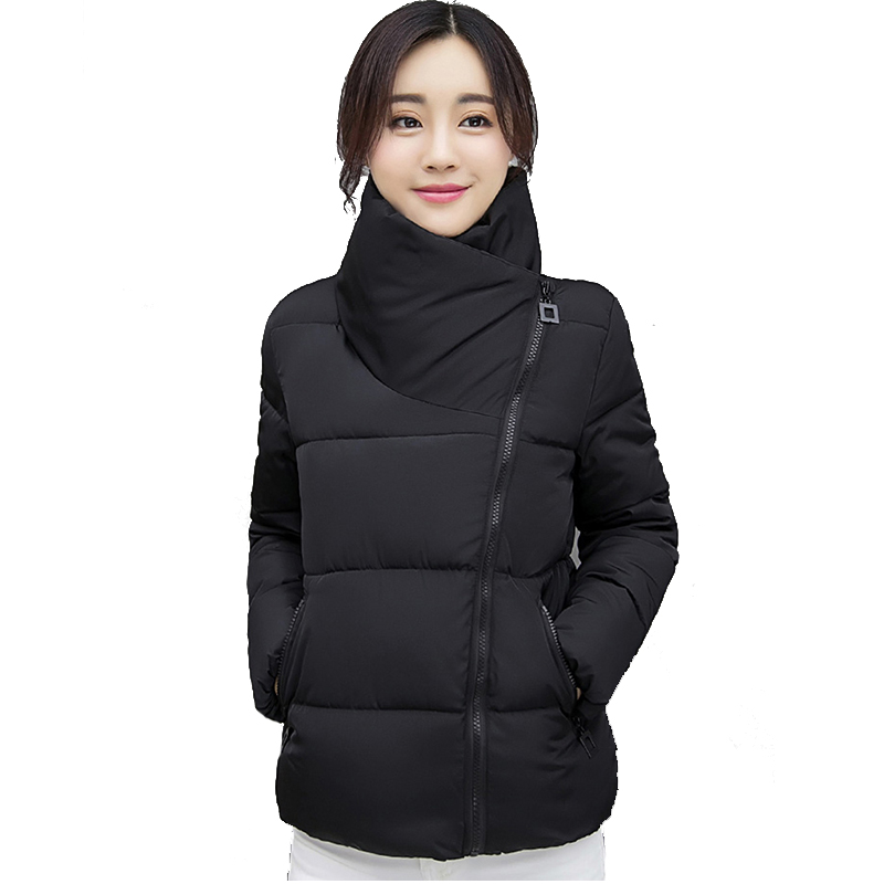 Stand Collar Short Winter Jacket Women Solid Color Cotton Padded Winter Autumn Female Coat Parkas Casaco Feminina Inveno