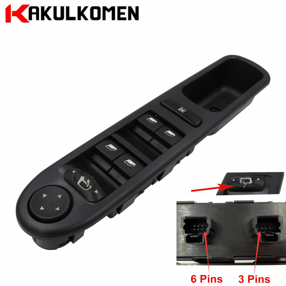 LHD Master Power Window Control Switch Electric 6554.KT 6554KT For Peugeot 307 Break 2000-2014 307SW 2002-2014 307CC 2003-2014