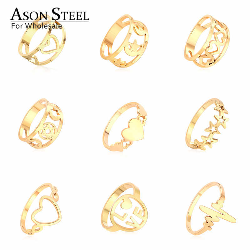 Hot Jewelry Heart Star Moon Top 316L Stainless Steel Ring Gold Rings Set for Women Men Girls Child Wedding Engagement Ring
