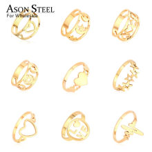 Hot Jewelry Heart Star Moon Top 316L Stainless Steel Ring Gold Rings Set for Women Men Girls Child Wedding Engagement Ring(China)