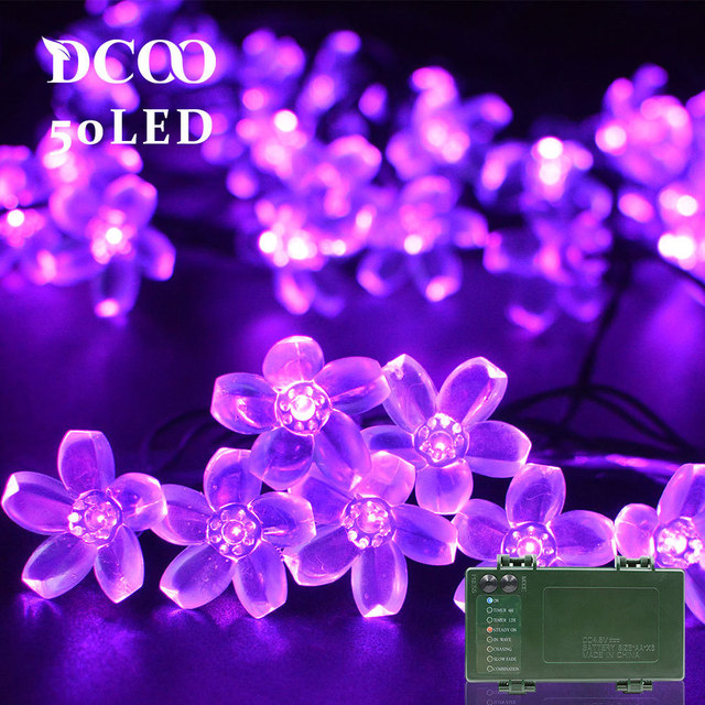 Dcoo String Lights Battery Operated Timer 50 Leds Blossom Flower