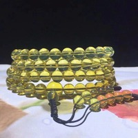 Wholesale 2A+ Natural Mexican Blue Amber 108 Prayer Beads Buddha Mala 7mm 8mm Beads Certificated Amber Supplier Prayer