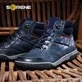 SERENO 2017 Homens Sapatos Masculinos Sapatos Botas de Tamanho Grande 39-46 Martin Ankle Boots de Couro Lace-Up Flats Collision Avoidance Skidr 3212
