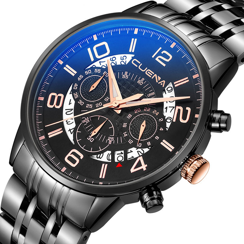 CUENA Fashion Men Quartz Watch Man Clock Mens Watches Top Brand Luxury Waterproof Stainless Steel Wristwatches Relogio Masculino men fashion quartz watch mans full steel sports watches top brand luxury cuena relogio masculino wristwatches 6801g clock
