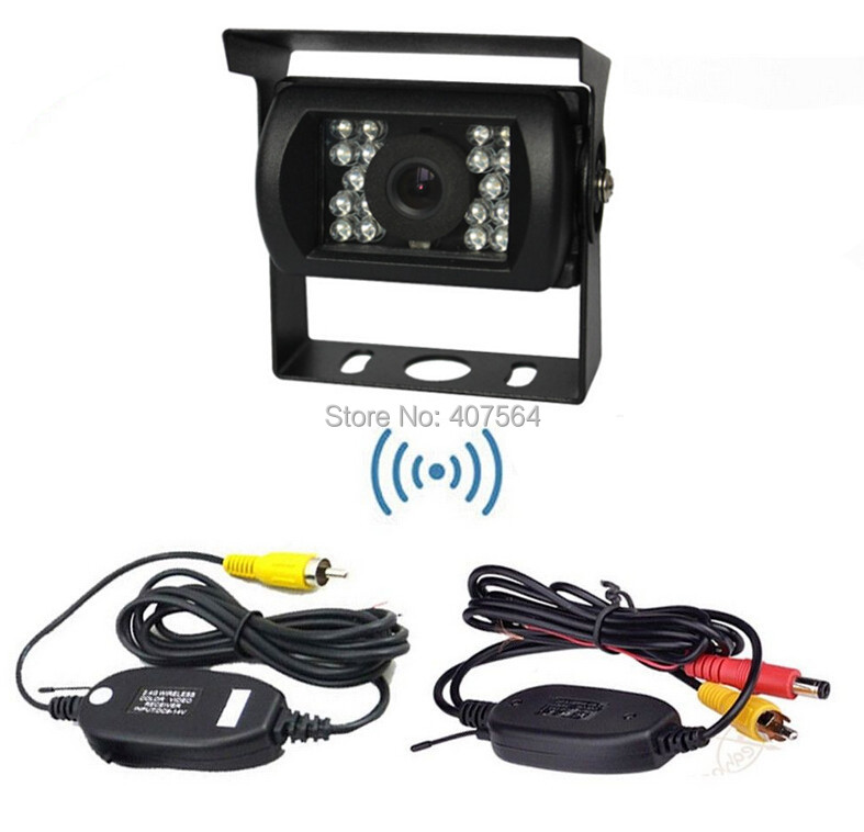 Hot, WIRELESS Car Reverse Rear View Parking Kit Camera with 2.4Ghz Video Transmiter and Receiver module+car camera for bus truck