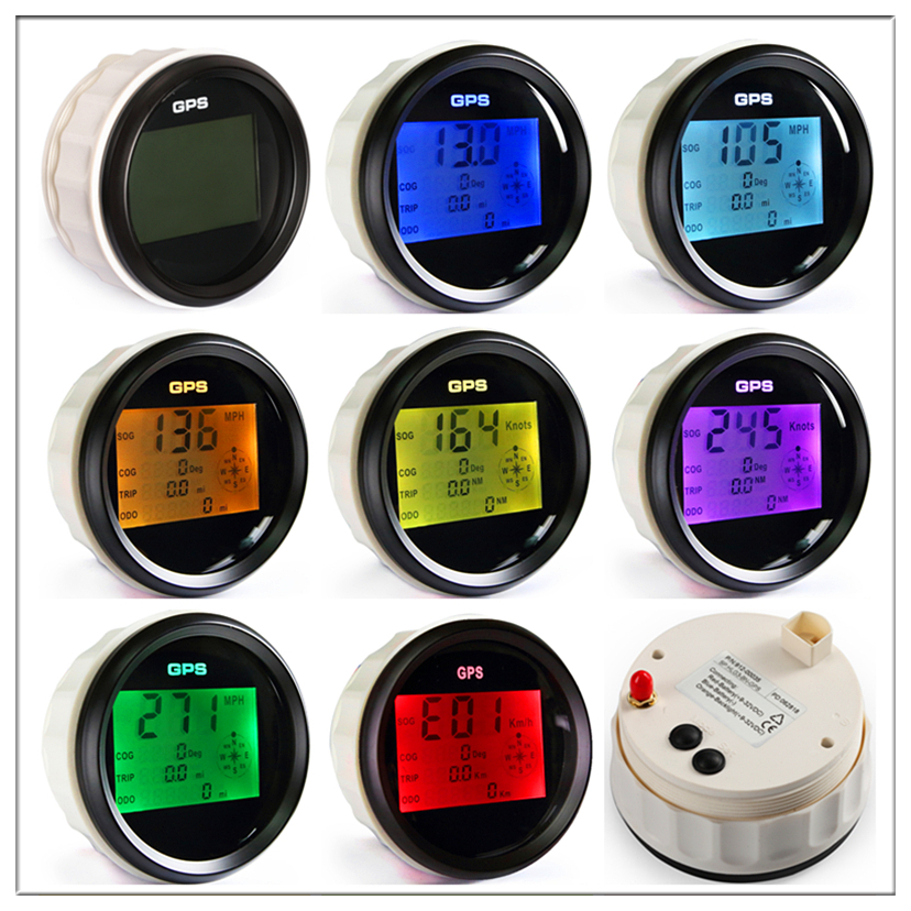 Waterproof Digital GPS Speedometer Odometer For Auto Marine Truck With 7 Color Backlight 3 3 8