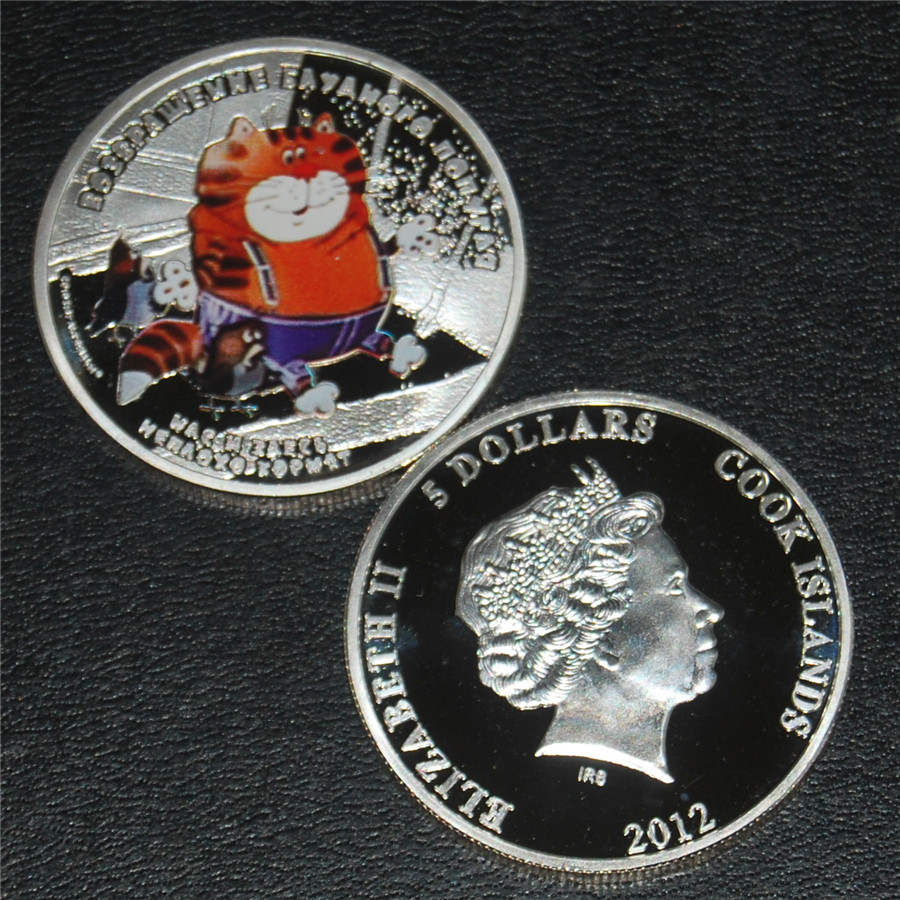 Free Shipping 1pcs/lot,Cook Islands 2012 Return of Prodigal Parrot Cat Silver Coin