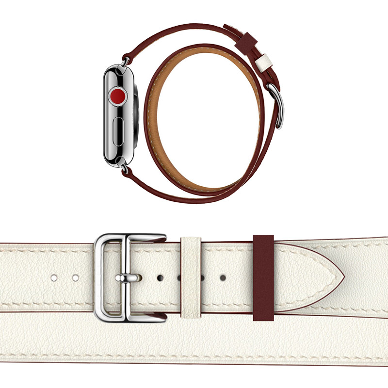 For Apple Series 4 Double Tour Watchbands Genuine Leather Strap Wrist Watch Band For Apple Watch 1 2 3 herm Bracelet 38-44mm цена