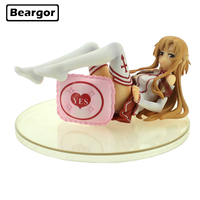 Free Shipping 3 Sword Art Online S.A.O Anime Yuuki Asuna Lying Ver. 1/8 Scale Boxed 7cm PVC Action Figure Model Doll Toys Gift
