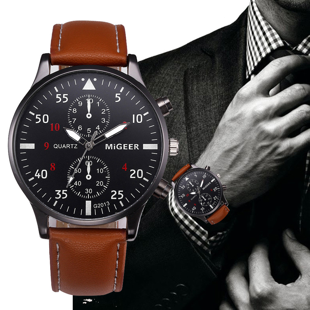 Migeer Men Sport Watch with Brown Leather Band