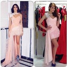 2015 freies Verschiffen Luxus Rosa Kurzen Ballkleid Eine Schulter Strass Rüschen Kristall Mini Kleid Perlen Cocktailkleider