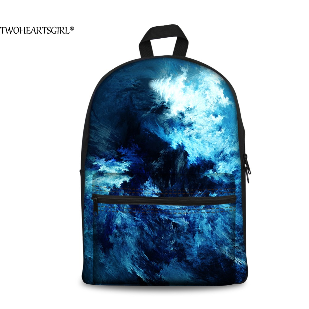 TWOHEARTSGIRL Men Landscape 3D Printing Canvas Backpack College School Student Back Pack Young People Trend Casual Rucksack Cool
