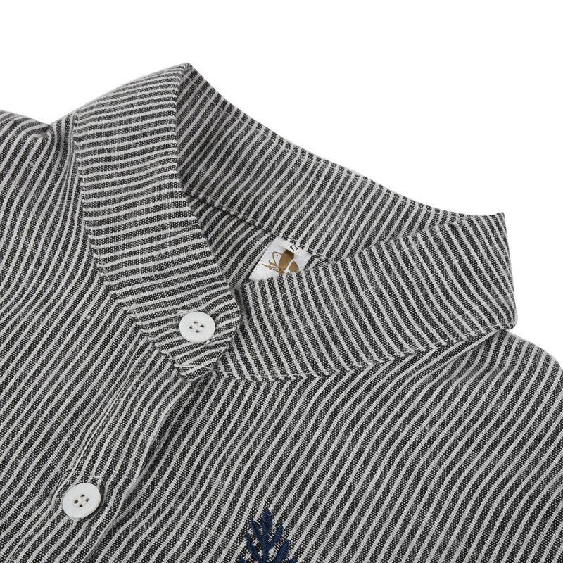 Damas de otoño Hojas Bordado Blusas de Manga Larga Elegante Camisa A Rayas de Al