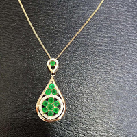 Qi Xuan_Fashion Jewelry_Colombian Green Stone Water Drop Necklaces_Rose Gold Color Pendant Necklaces_Factory Directly Sales