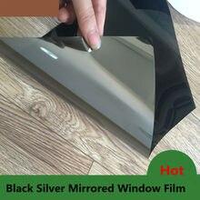 """2"""" X10ft(0,5X3 м) виндовая пленка серебристый и черный оттенок для дома уединение одностороннее зеркало стеклянная пленка тонированный винил"""