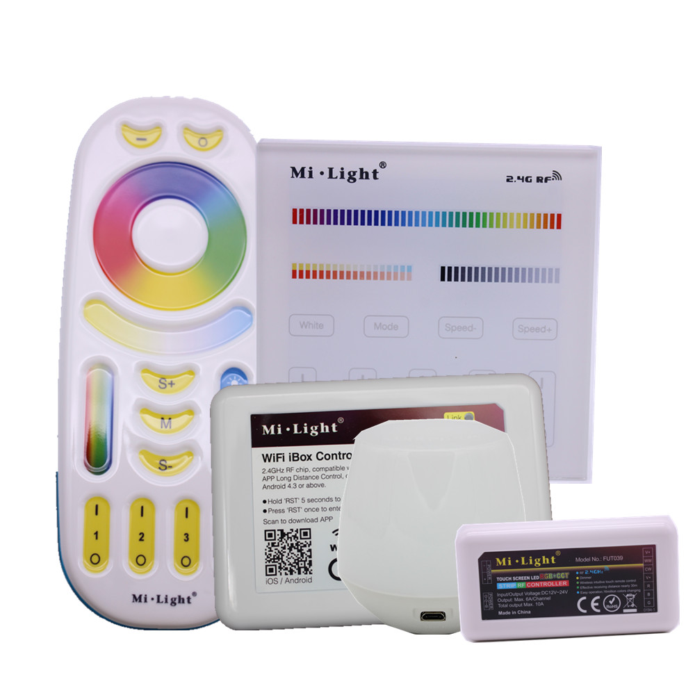 MiLight RGBWW Full Color LED Controller RF 2.4G / Wifi Remote Control DC12-24V for RGB+CW+WW LED Strip.