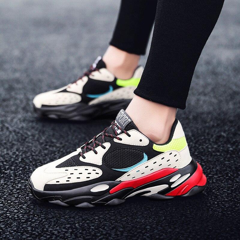 Trendmarkierung Hip Hop Herren Chunky Turnschuhe Kanye Mode Westen Casual Schuhe Tenis Sapato Masculino Retro Plattform Turnschuhe Korb Striples Freizeitschuhe Für Herren Schuhe