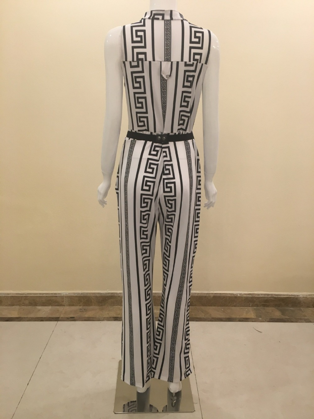 2017 autumn rompers womens jumpsuit Elegant One Piece long wide leg Party bandage printed white black fashion nova dungarees 13