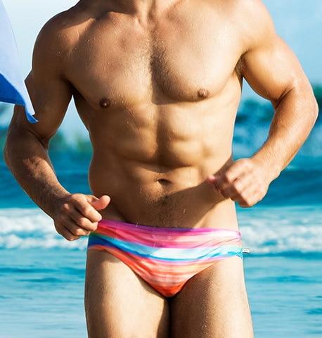 dd892cb3a3 2019 Sexy Push Up Men Swimsuit Bikini Mens Swim Briefs Gay Swimwear  Swimming Trunk Pouch Padded Surf Bathing Suit Beach wear