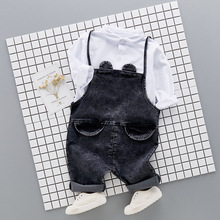 Children Clothing New Year's Costume Kids Clothing Sets White Shirts for boys + Denim Overalls Bib Pants Jeans Two Piece Set 2PC