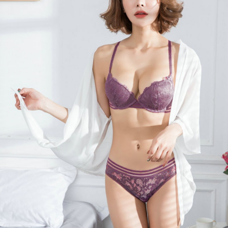 women Push Up   Bra     Brief     sets   Cup B Lace   Bra     Set   Comfortable Brassiere Sexy Women Thin Cotton Lace   Bra   Lingerie   Sets
