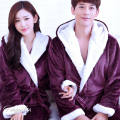 Fall Winter Hooded Couples Bathrobes Lovers Nightwear Home Clothes Flannel Warm Bath Robe Dressing Gowns For Women Men Kimono