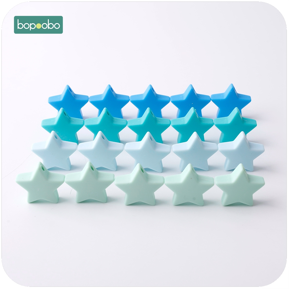 Купить с кэшбэком Bopoobo 10PC 23mm Colorful Silicone Star BPA Free Silicone Teether DIY Crafts Baby Accessories Silicone Beads Baby Teethers Toy
