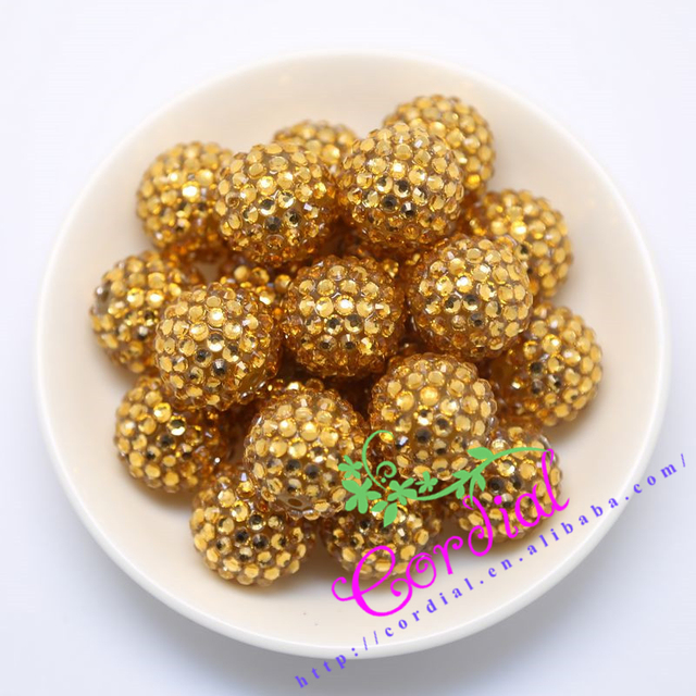 #64  Free Shipping 20MM 100Pcs/Lot Chunky Golden Transparent Resin Rhinestone Beads Bling Resin Ball Beads For Chunky Necklace