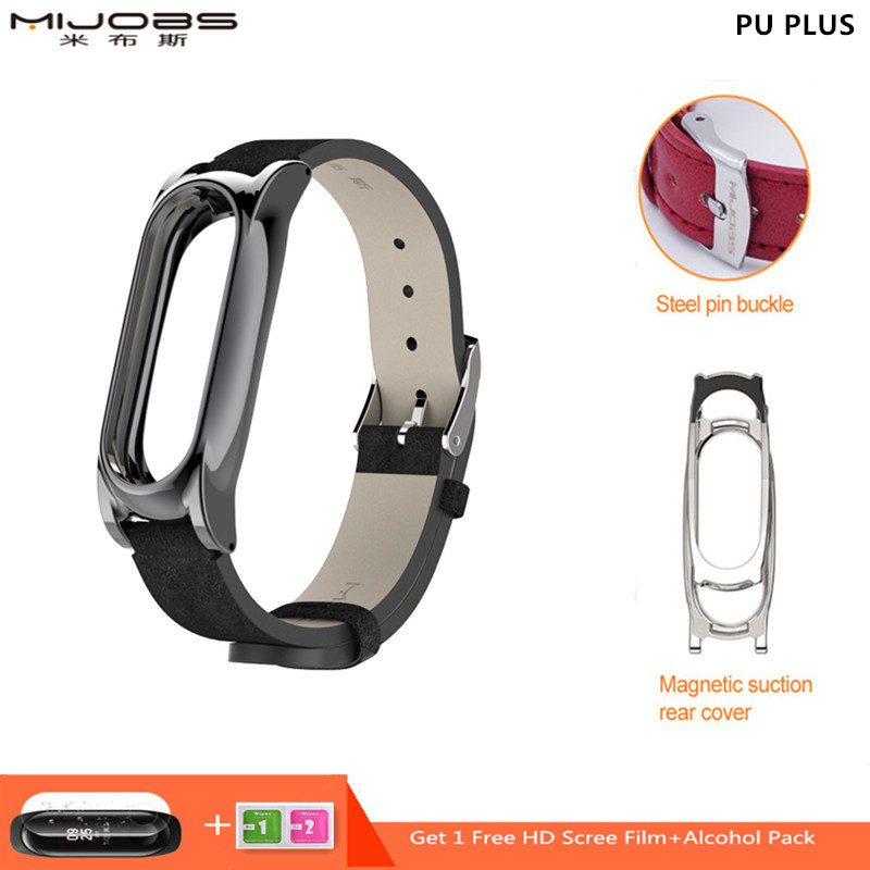 Mijobs Miband 2 PU Wrist Strap for Xiaomi Mi Band 2 Strap Bracelet Mi band 2 Wristband Smart Watch Correa Mi Band 2 Accessories image