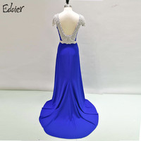 Sexy Open Back Long Evening Dress Real Photo 2017 Crystal Beading Blue Women African Formal Prom Evening Gown Robe De Soiree