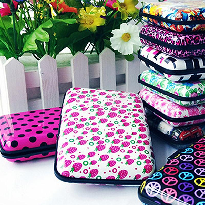 1Pcs Aluminum Flower Printing Card Case Protection Pocket Business ID Credit Card Holder Wallet Waterproof Case Box