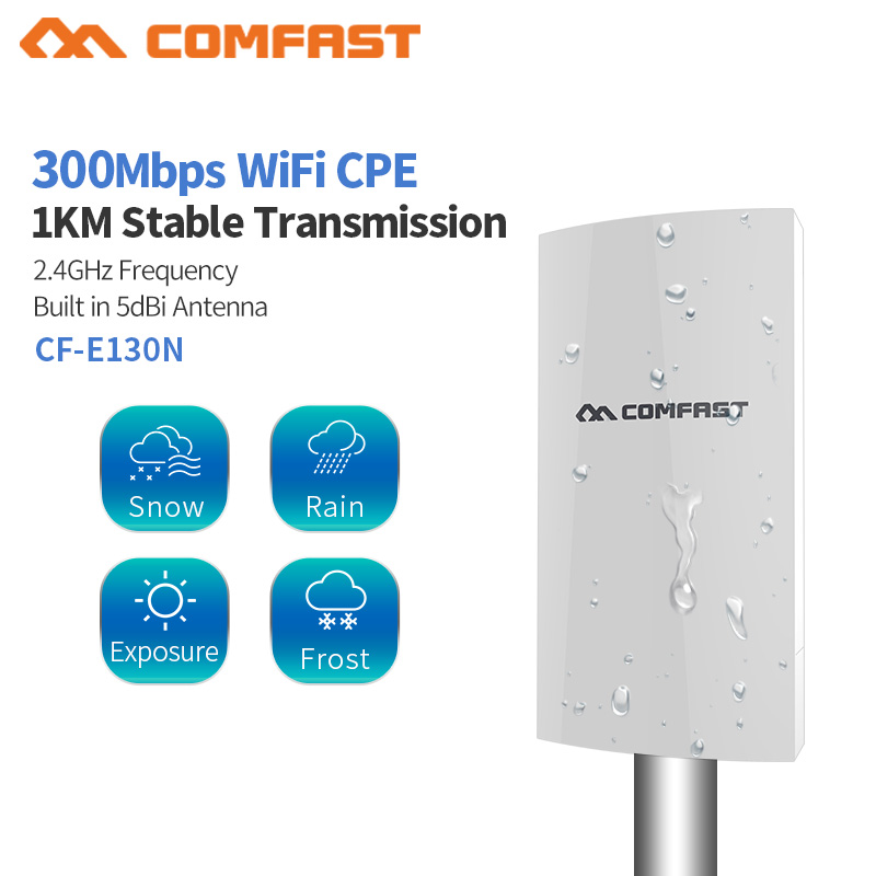 1KM WIFI Range Wireless Outdoor CPE Router WIFI Extender 2.4G 300Mbps WiFi Bridge Access Point AP Antenna WI-FI Repeater CF-E130