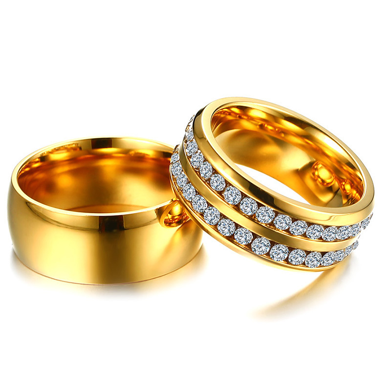 Vnox Trendy Wedding Rings for Women Men CZ Stones Gold Color Stainless Steel Jewelry Engagement Anniversary Valentine's Day Gift