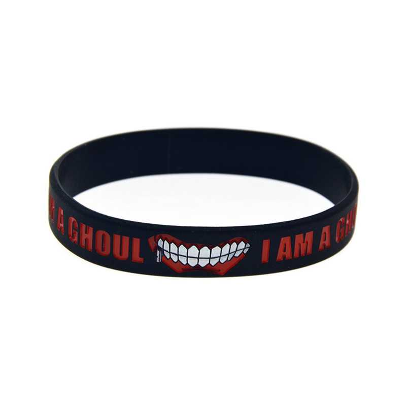 "Fashion Japan Anime"" Tokyo Ghoul Silicone Rubber"" Bracelet Bangle  Words Printed Wirstband Cosplay Accessories Gift"