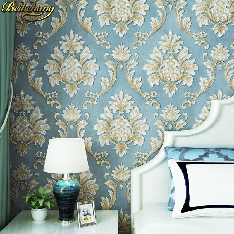 beibehang papel de parede 3D European wallpaper for walls 3d Embossed Floral Pattern Wall Paper roll Home Decoration living room beibehang european luxury papel de parede 3d wall paper roll embossed flocking living room tv background wallpaper for walls 3 d