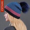 2016 Mulheres Dot Gorros de Malha Além de Veludo Quentes Chapéus de Pele moda Natural Raccoon Fur Caps Inverno Ocasional Chapéu Pompom Para feminino