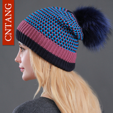 2017 Women Dot Beanies Knitted Plus Velvet Warm Fur Hats Fashion Natural Raccoon Fur Caps Winter Casual Pompon Hat For Female