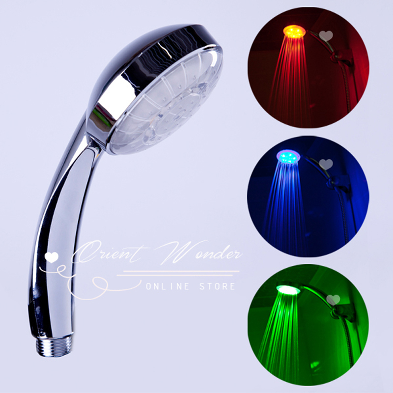 3 color led shower head of rgb light temperature control light change selfpower bath