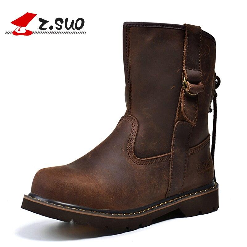 Z. SUO/Для мужчин осень/зима Crazy Horse кожаные ботинки martin сильный человек средней ноги отдельных шнурки мотоботы