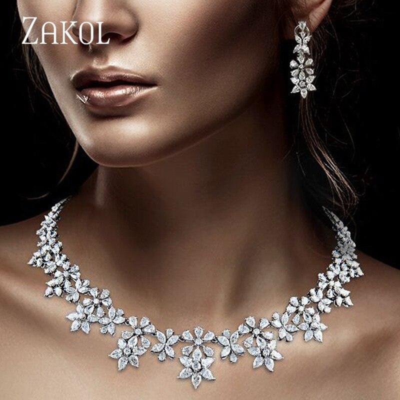ZAKOL Luxury Sparking Brilliant Zircon Flower Earring Necklace Heavy Dinner Jewelry Set Bridal Wedding Dress Accessories FSSP388